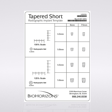 Tapered Short Implantat-Röntgenschablone